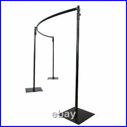 11 ft Black Adjustable Heavy Duty Curved Pipe and Drape Backdrop Support Kit