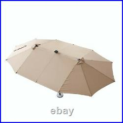 15FT Patio Umbrella Double-Sided 48 Solar LED Lights Tilt With Crank Outdoor Pool