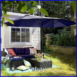 15 Ft Outdoor Patio Umbrella Double Sided Market Umbrella Base Included Navy