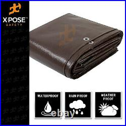 15' x 40' Super Heavy Duty 16 Mil Brown Poly Tarp Cover Thick Waterproof