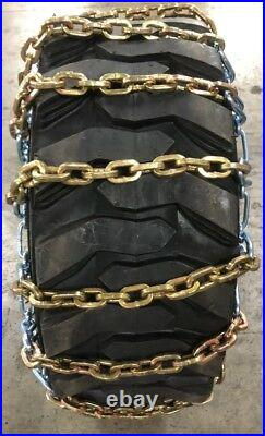 (2) Heavy Duty Skid Steer Tire Chain 12x16.5 12-16.5 8mm Square Link Bobcat