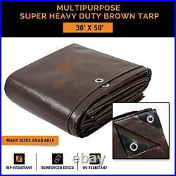 30' x 50' Super Heavy Duty 16 Mil Brown Poly Tarp Cover Thick Waterproof
