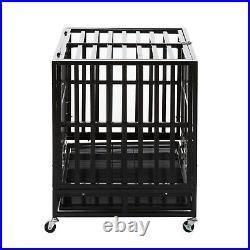 37 Heavy Duty Metal Dog Crate Cage Square Tube Pet Kennel Playpen Wheels & Tray