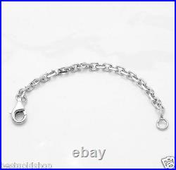 3mm Heavy Duty Solid Cable Chain Necklace Extender Real 14K White Gold