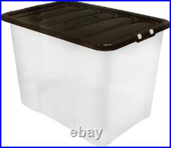 6 x 80L STORAGE BOXES CRYSTAL CLEAR PLASTIC LARGE CONTAINER & CLIP ON LID
