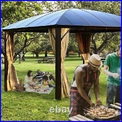 ALEKO Poly-carbonate Hardtop 12x12 ft Gazebo with Curtains, Removable Mesh Walls