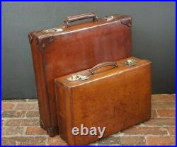 Beautiful Large Rare Square Thick Leather Suitcase