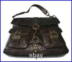 Coach Legacy BROOKLYN Dk Brown Pocket Leather Large Messenger Tote Bag Purse WOW