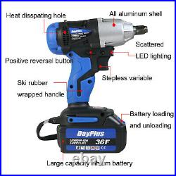 Cordless Electric Impact Wrench 1/2 Inch Square Drive with LED Workd Light USA