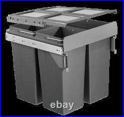 Dark Grey Pull Out Kitchen Bin for 500mm Cabinet 1x34L + 2x17L Side Mounted