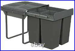 Dark Grey Pull Out Kitchen Bin for 600mm Cabinet 1x34L + 2x17L Base Mounted