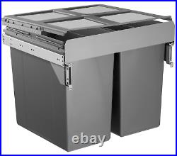 Dark Grey Pull Out Kitchen Bin for 600mm Cabinet 2 x 45L Bins Recycling