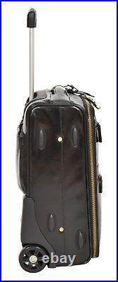 Genuine Leather Trolley Hand Luggage Cabin Suitcase Business Travel Bag Black