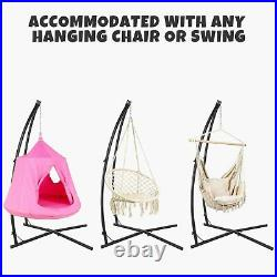 Hammock Chair Stand Heavy Duty Steel Solid Hanging Tree Tent Stand Black 330lbs