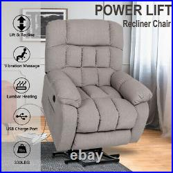 Heavy Duty Auto Power Lift Recliner Chair Massage Heated Vibration Sofa withRemote