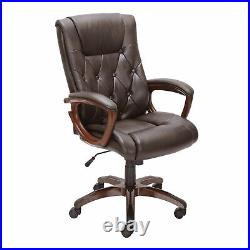 Heavy Duty Brown Chair Leather Office Rolling Computer High Back Executive Desk