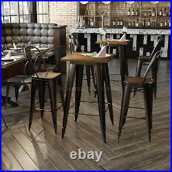 Heavy-Duty Metal Bar Table Solid Elm Wood Top 23.6 Square 41.3 High Bistro