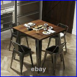 Heavy-Duty Metal Dining Table Solid Wood Top 31.4 Bistro Bar Cafe Kitchen Table