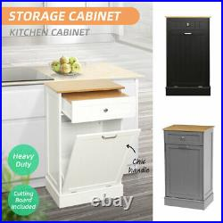Kitchen Storage Cabinet Cupboard With Bamboo Trash Can Holder Drawer Heavy Duty US