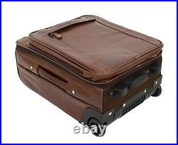 Leather Cabin Size Suitcase Wheeled Travel Luggage Trolley Bag Kingston Brown