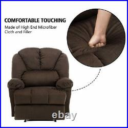 Luxury Recliner Chair Wide Back Seat Extra Comfy Velvet Fabric Heavy Duty Base