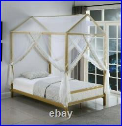 Modern Youth Heavy Duty Metal Canopy Bed with LED Light Full Size, Matte Gold