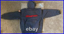 NEW Large Snap On Gray Heavy Duty Canvas Bomber Jacket Embroidered USA Flag