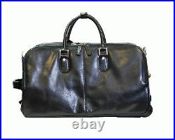 Real Leather Holdall On Wheels Duffle Gym Cabin Travel Luggage Weekend Bag BLACK