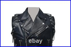 Real Leather Motorcycle Vest Heavy Duty With Chains Biker Vest Punk