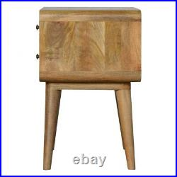 Scandinavian Style 2 Drawer Bedside Table In Pale Solid Wood Curved Edges