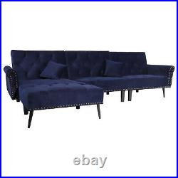 Sectional Sofa Sleeper Bed 900lb Heavy Duty 115in Wide Futon Sofa Button Tufted