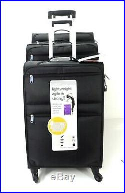 Set Of 3 Suitcases Lightweight 4 Wheel Suitcase Trolley Case Travel Luggage Purp