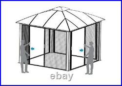Siena 12' x 12' Hard Top Aluminum Gazebo with Screens, NEW SHIPS FROM FACTORY