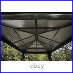Sojaq 12' x12' Metal Sun Shelter Steel Roof Gazebo Shade Canopy with Netting