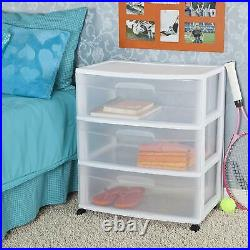 Sterilite White Frame with Clear Drawers and Black Casters Wide 3-Drawer Cart