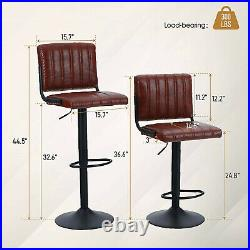 Swivel Bar Stools Set of 2 Adjustable Height PU Leather Heavy Duty Bar Chairs