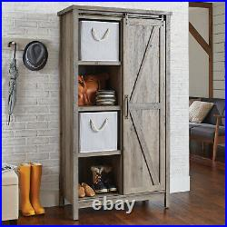Tall Storage Cabinet Country Wood Rustic Farmhouse Pantry Cupboard Sliding Door