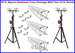 Two 14' Crank Up Stands With Three 6.56' Square Aluminum Truss Segments Package