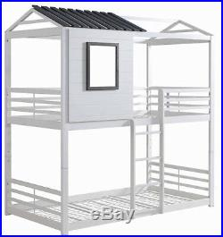 Youth & Kids Modern House Themed Heavy Duty Metal Bunk Bed Twin Over Twin, White
